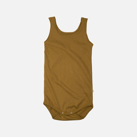 Organic Cotton Sleeveless Napoli Body - Golden Leaf - 1m-3y