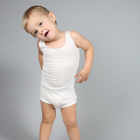 Organic Cotton Sleeveless Napoli Body - White - 1m-3y