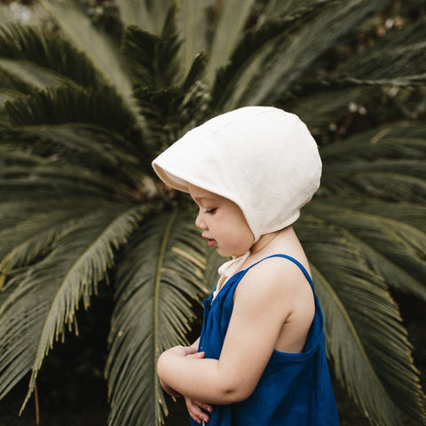 Cotton/Hemp Brimmed Bonnet - Ivory Linen - 0m-4y