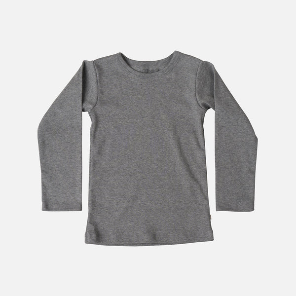 Organic Cotton Nimbus LS Blouse - Grey Melange - 2-6y