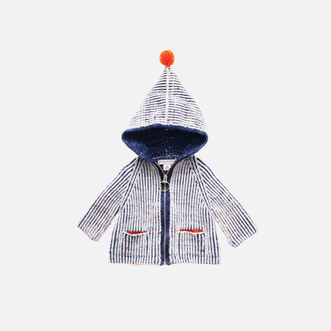 Hand Knit Merino Wool North Wind Coat - Ink - 3-4y