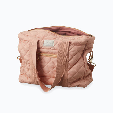 Organic Quilted Cotton Changing Bag - Blush