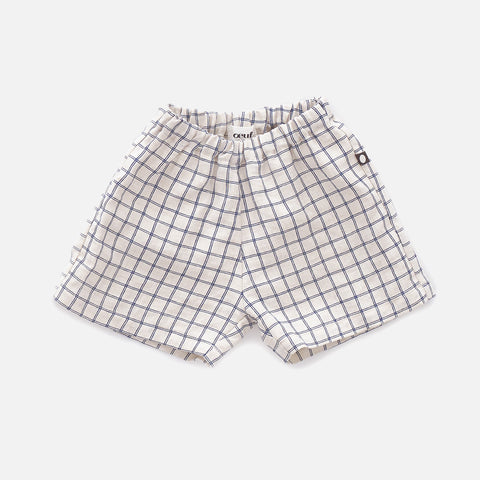 Linen Shorts - Beige/Blue Checks - 12m-10y