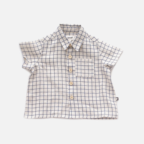 Linen Button Down Shirt - Beige/ Blue Checks - 12m-10y