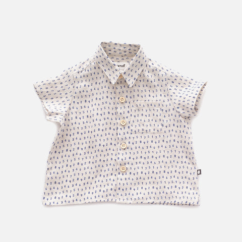 Linen Button Down Shirt - Beige/Numbers - 12m-10y