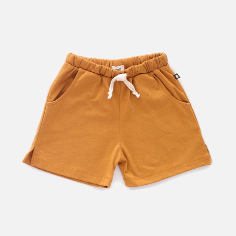 Organic Jersey Cotton Shorts - Ochre - 12m-10y