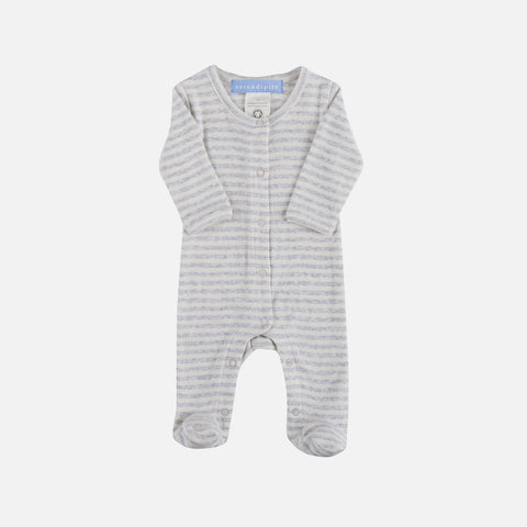 Organic Cotton Newborn Baby Suit - Ash/Offwhite
