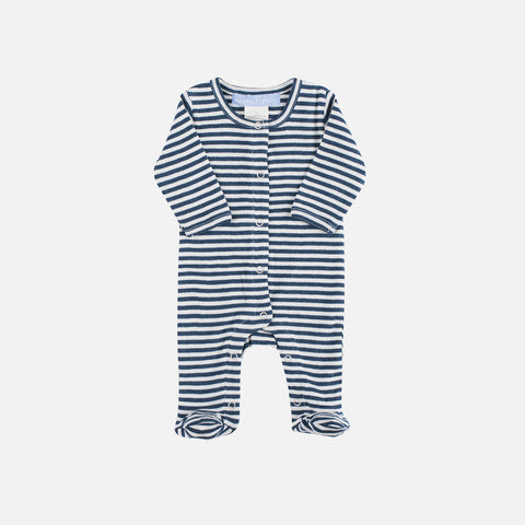 Organic Cotton Baby Suit - Orion Blue/Offwhite - 0-3m