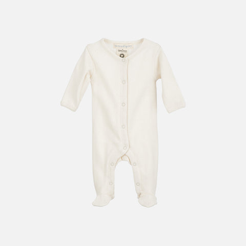 Organic Cotton Baby Suit Pointelle - Ecru - 0-3m