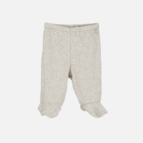 Organic Cotton Baby Pants with Feet - Wheat/Warm Grey - 0-3m