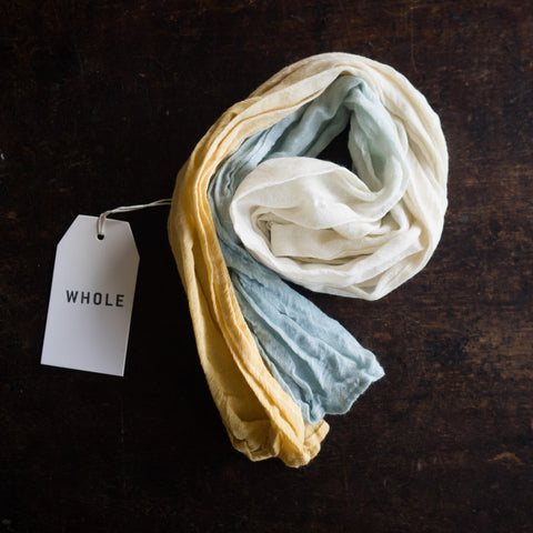 Wool muslin kids scarf - Natural dyes - Ochre/Blue