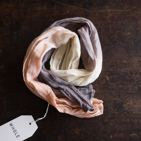 Wool muslin kids scarf - Natural dyes - Pink/Grey