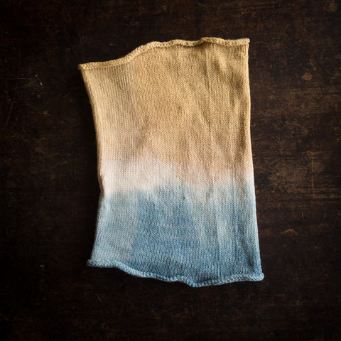 Merino wool kid snood - natural dyes - Blue/Ochre
