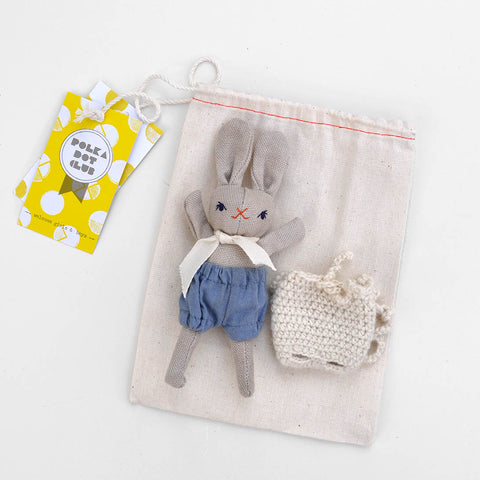 Organic Cotton Baby Rabbit & Backpack - Denim/Cream