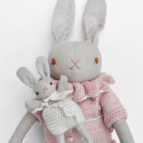 Organic Cotton Baby Rabbit & Backpack - Coral/Cream
