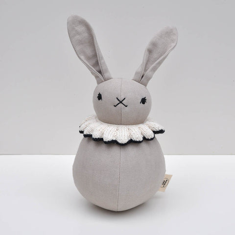 Organic Cotton Roly-Poly rabbit - Natural/Midnight