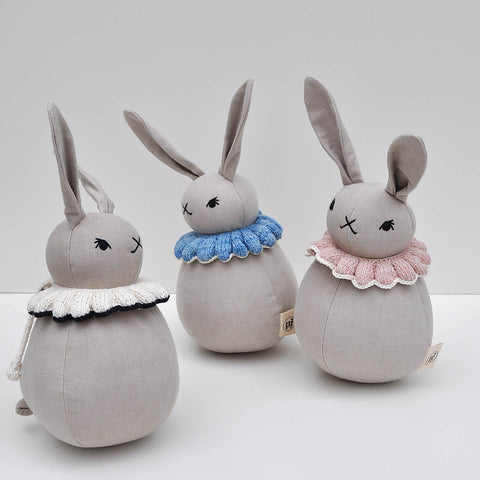 Organic Cotton Roly-Poly rabbit - Sky