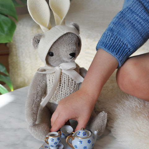 Mohair Classic Bear in Knit and Rabbit Ears - Grey