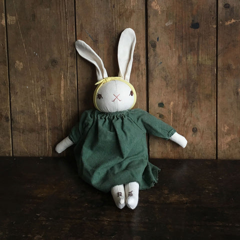 Handmade Cotton Medium Silk Dress Rabbit - Cream/Fern
