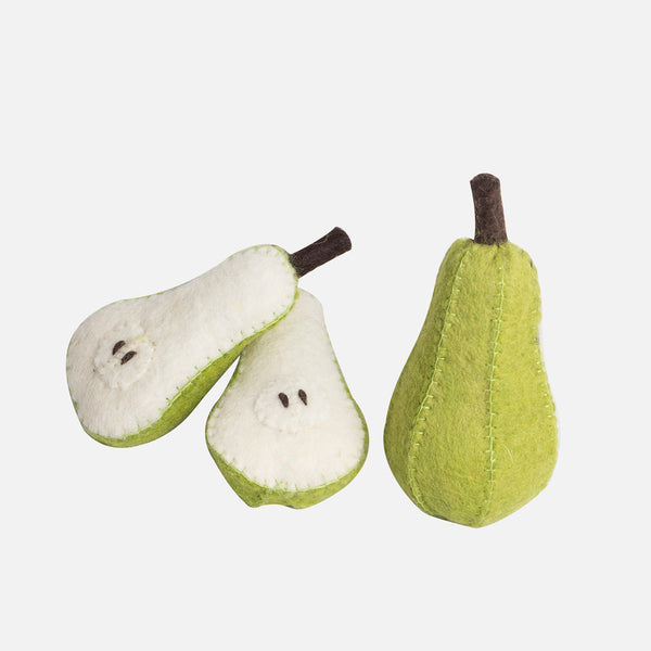 Felted Wool Fruit Pear - Set of 3 Pieces