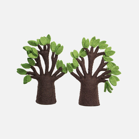 Felted Wool Baobab Tree - Set of 2