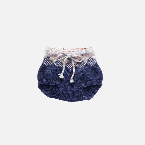 Hand Knit Merino Wool Pinecone Bloomers - Ink - 3-4y