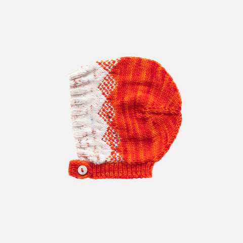 Hand Knit Merino Wool Pinecone Bonnet - Persimmon - 4-6y