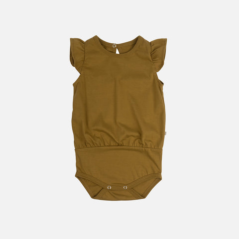 Organic Cotton Pippi Romper - Golden Leaf - 1m-3y