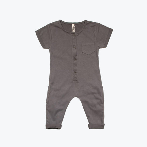 Organic Playsuit - Dark Grey - 5-8y