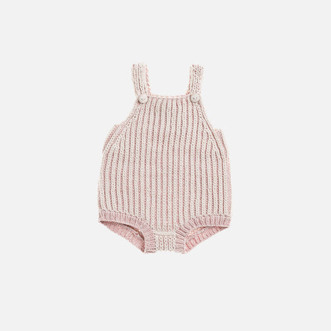 Hand Knit Plum Island Playsuit - Pink Sand/Natural - 2-4y