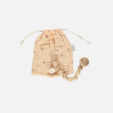 Soother Wooden Holder/Clip with Bag  - Apple Blossom