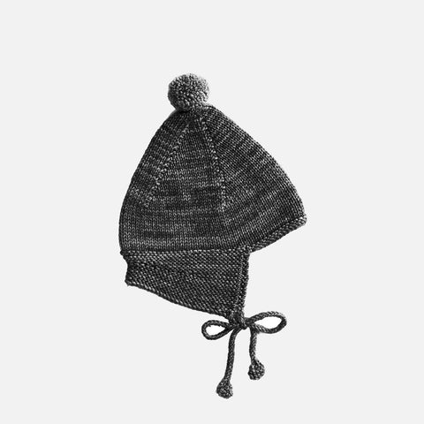 Hand-Knit Merino Pointy Peak Hat - Graphite - 0-24m