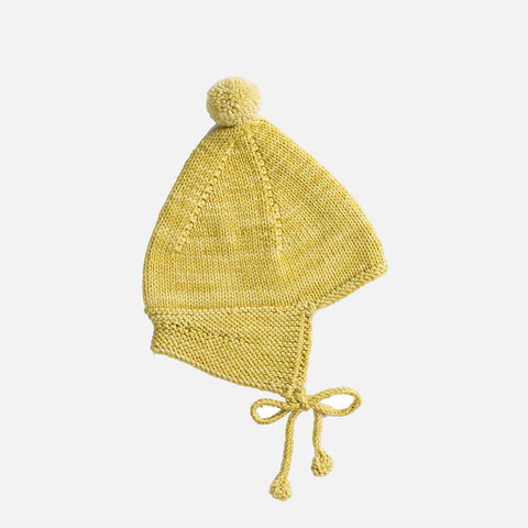 Hand-Knit Merino Pointy Peak Hat - Winter Wheat - 0m-4y