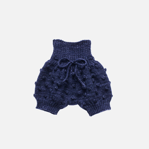 Hand Knit Merino Wool Popcorn Bloomers - Ink - 12m-3y