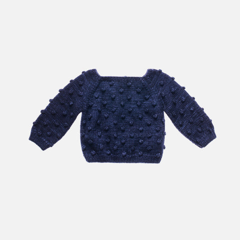 Hand Knit Merino Wool Popcorn Sweater - Ink - 6m-3y