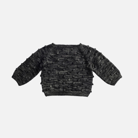 Hand-Knit Merino Popcorn Sweater - Graphite - 6-12m