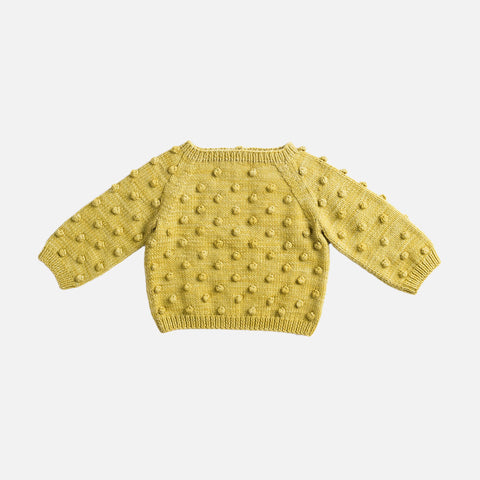 Hand-Knit Merino Popcorn Sweater - Winter Wheat - 6m-8y