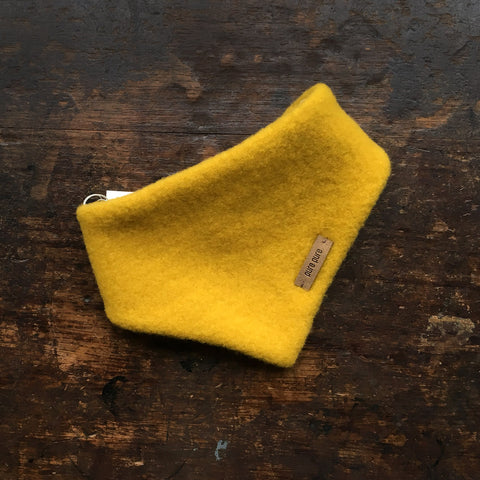 Organic Merino Fleece Baby Bib Scarf - Lemon Curry - 0m-2y