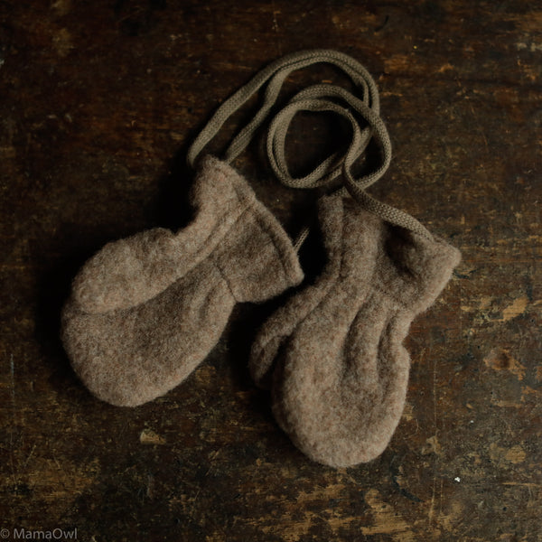 Organic Merino Fleece Toddler Mittens - Walnut