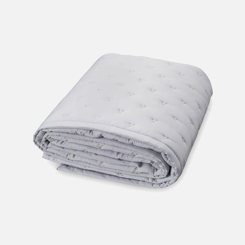 Organic Cotton Baby Quilt Gold Dot - Grey
