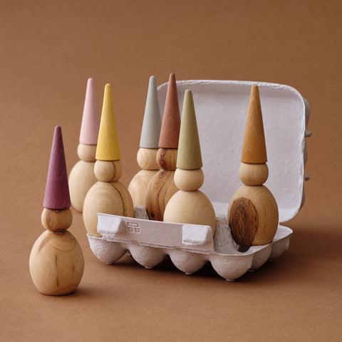 Wooden Gnomes - Set of Seven