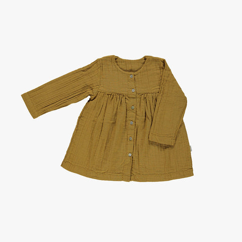 Organic Long Sleeve Dress - Cassonade - 12-24m