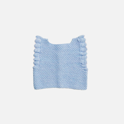 Hand Knit Cotton Fiora Vest - Sky/Natural - 2-6y