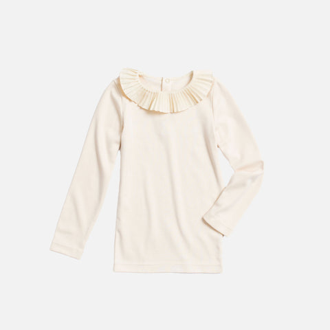 Pima Cotton Paloma Ruffled Top - Natural - 6-8y