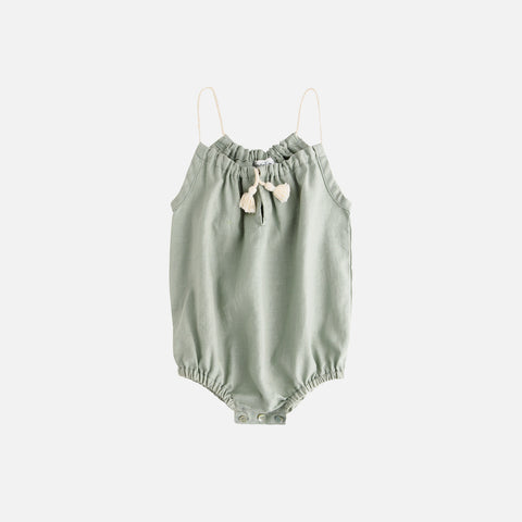 Cotton/Linen Romper With Cord Straps  - Green - 3m-2y