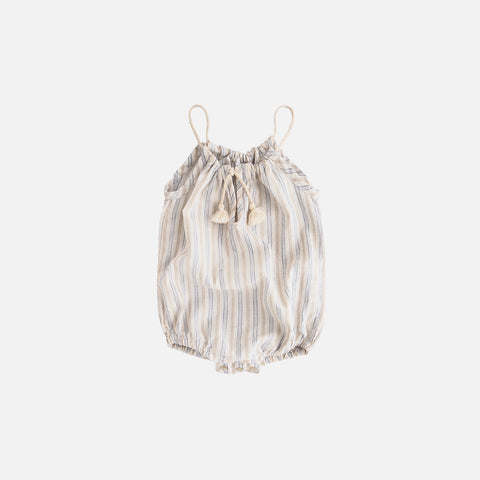 Cotton/Linen Romper With Cord Straps - Striped - Blue/White - 3m-2y