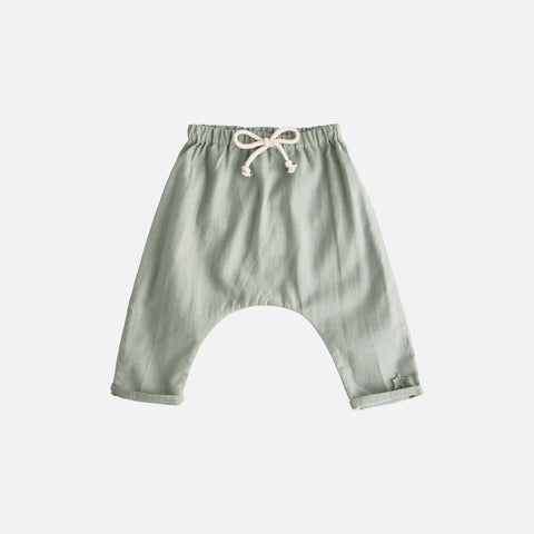 Cotton/Linen Baby Pants - Green - 3m-2y