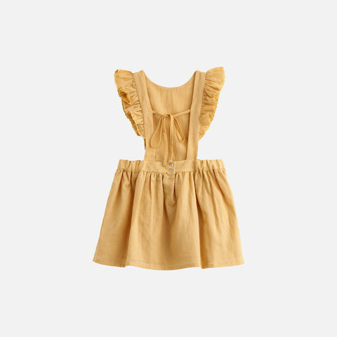 Cotton Pinafore Ruffle Dress - Mustard - 6y