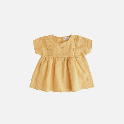 Cotton/Linen SS Lace Dress - Mustard - 6m-10y