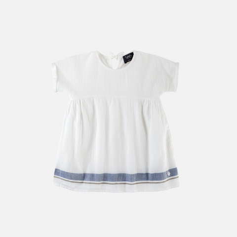 Cotton Stripe Dress - Ecru - 9m